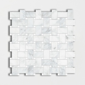 Calacatta Bella Polished Basket Wave Marble Mosaics 12x12