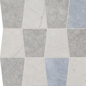 Britannia, Britannia Dark, Afyon Gray Honed Tapered Marble Waterjet Decos 12 1/2x12