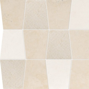 Heartsmere, Champagne Multi Finish Tapered Marble Waterjet Decos 12 1/2x12