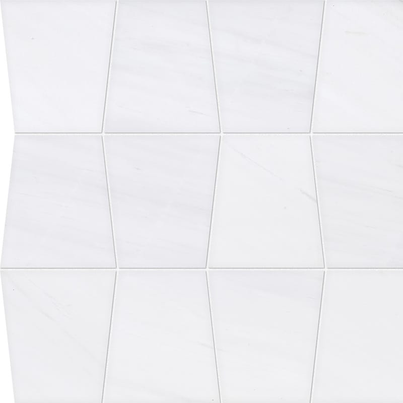 Snow White Honed&polished Tapered Marble Waterjet Decos 12 1/2×12