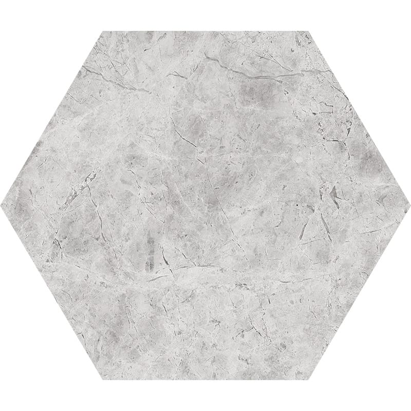 Silver Shadow Honed Hexagon Marble Waterjet Decos 5 25/32×5