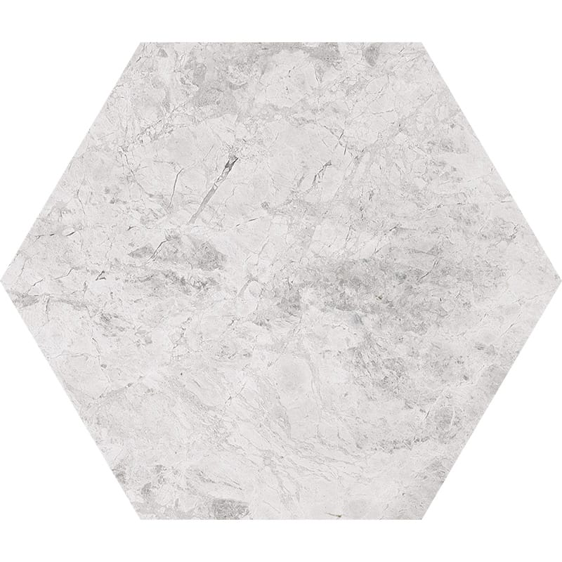 Silver Clouds Polished Hexagon Marble Waterjet Decos 5 25/32×5