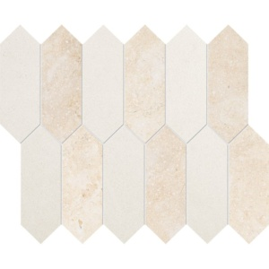 Casablanca, Champagne Honed Medium Picket Limestone Waterjet Decos 13 3/16x11 1/16