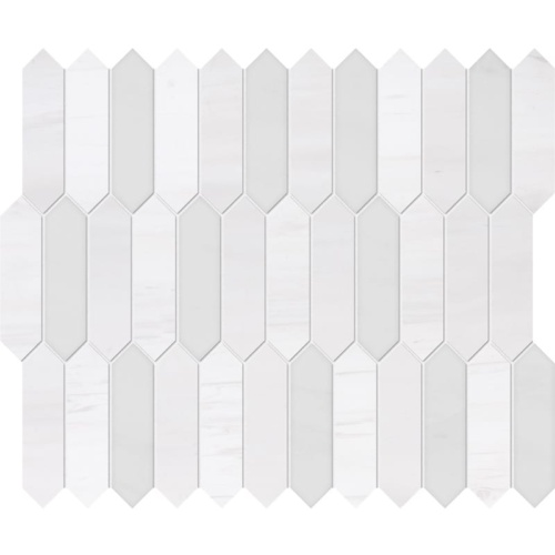 Snow White, Afyon White Honed&polished Baby Picket Marble Waterjet Decos 13 3/16x11
