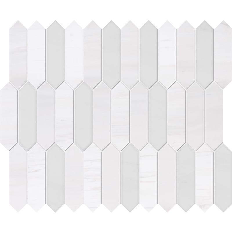 Snow White, Afyon White Honed&polished Baby Picket Marble Waterjet Decos 13 3/16×11