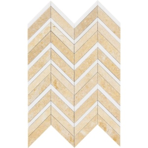 Seashell Honed&polished Chevron Fusion Limestone Mosaics 16x11 7/8