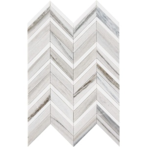 Skyline Light Honed&polished Chevron Fusion Marble Mosaics 16x11 7/8