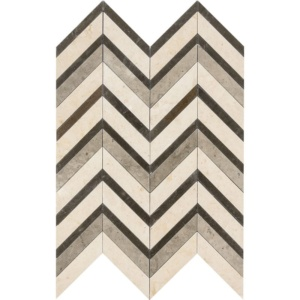 Heartsmere Honed Chevron Fusion Limestone Mosaics 16x11 7/8