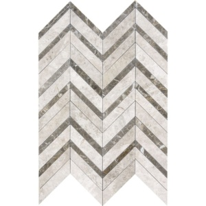 Silver Shadow Honed&polished Chevron Fusion Marble Mosaics 16x11 7/8