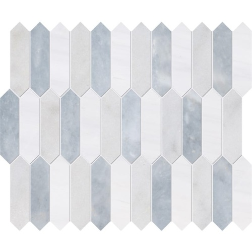 Avalon, Snow White, Allure Honed Baby Picket Marble Waterjet Decos 13 3/16x11
