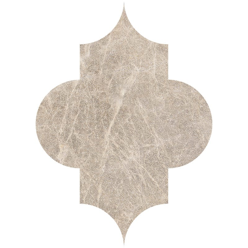 Brown Leather Arabesque Marble Waterjet Decos 6×8 1/4