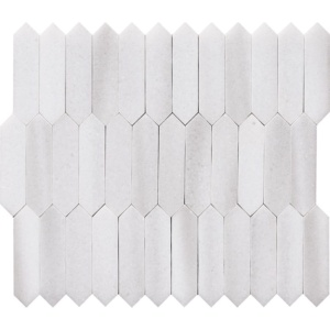 Frost White Polished Baby Picket Marble Waterjet Decos 13 3/16x11