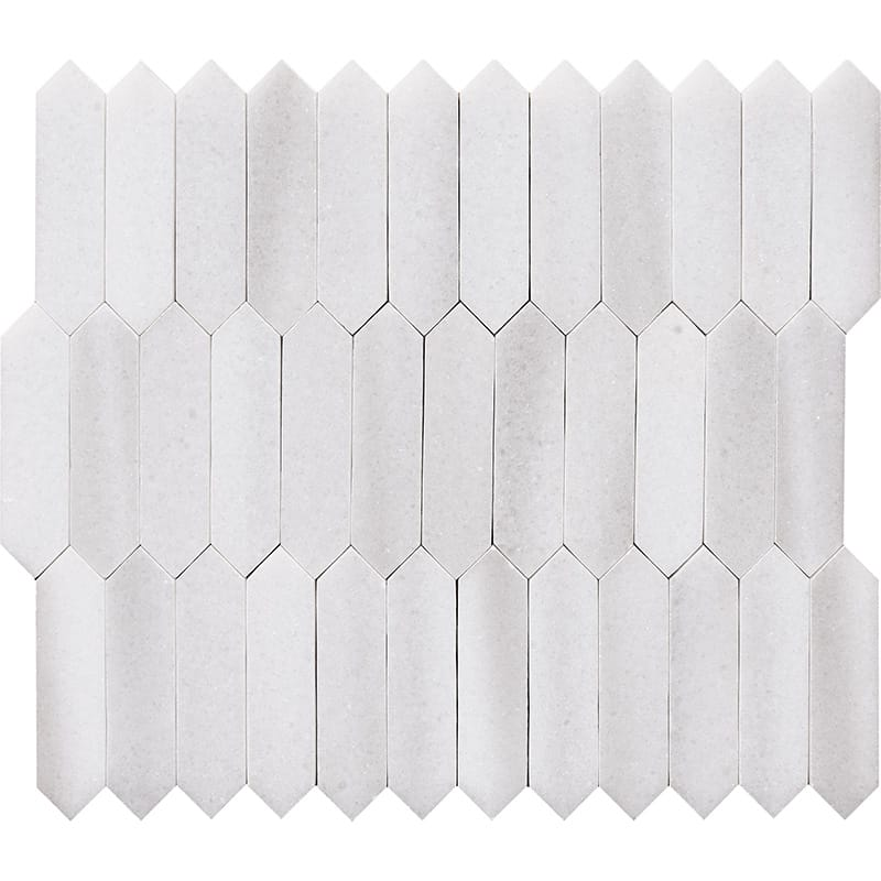 Frost White Polished Baby Picket Marble Waterjet Decos 13 3/16×11
