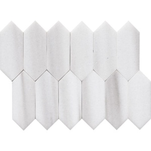 Frost White Polished Medium Picket Marble Waterjet Decos 13 3/16x11 1/16