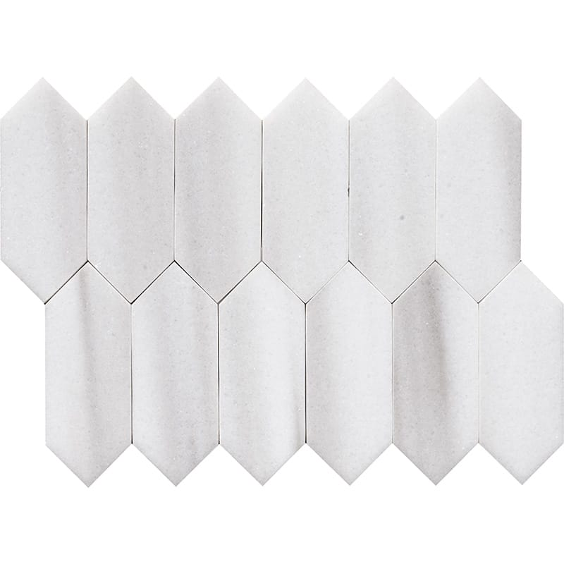 Frost White Polished Medium Picket Marble Waterjet Decos 13 3/16×11 1/16