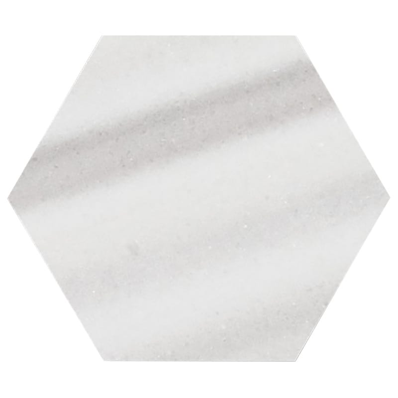 Frost White Polished Hexagon Marble Waterjet Decos 5 25/32×5