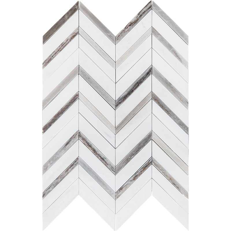 Snow White Polished Chevron Fusion Marble Mosaics 16×11 7/8