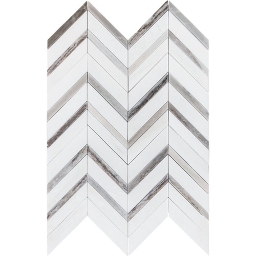 Snow White Honed Chevron Fusion Marble Mosaics 16x11 7/8
