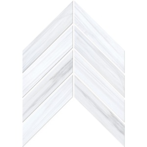 Bianco Dolomiti Classic Polished Chevron Marble Waterjet Decos 13x10