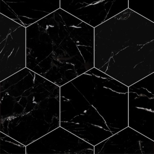 Black Honed Hexagon Marble Tiles 8x8