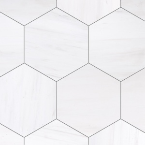 Snow White Honed Hexagon Marble Tiles 8x8