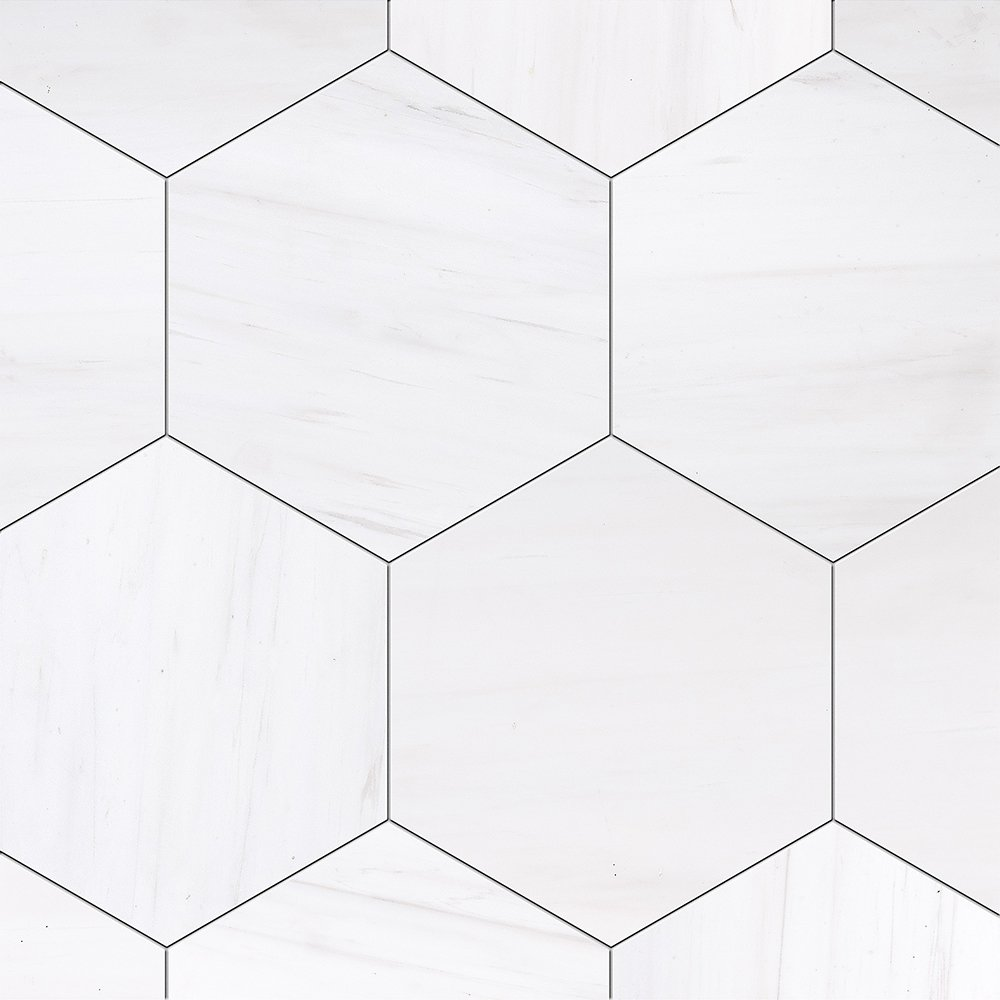 Snow White Honed Hexagon Marble Tiles 8×8