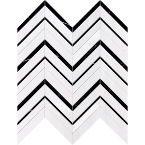 Black, Snow White Honed Chevron Fusion Marble Mosaics 16x11 7/8