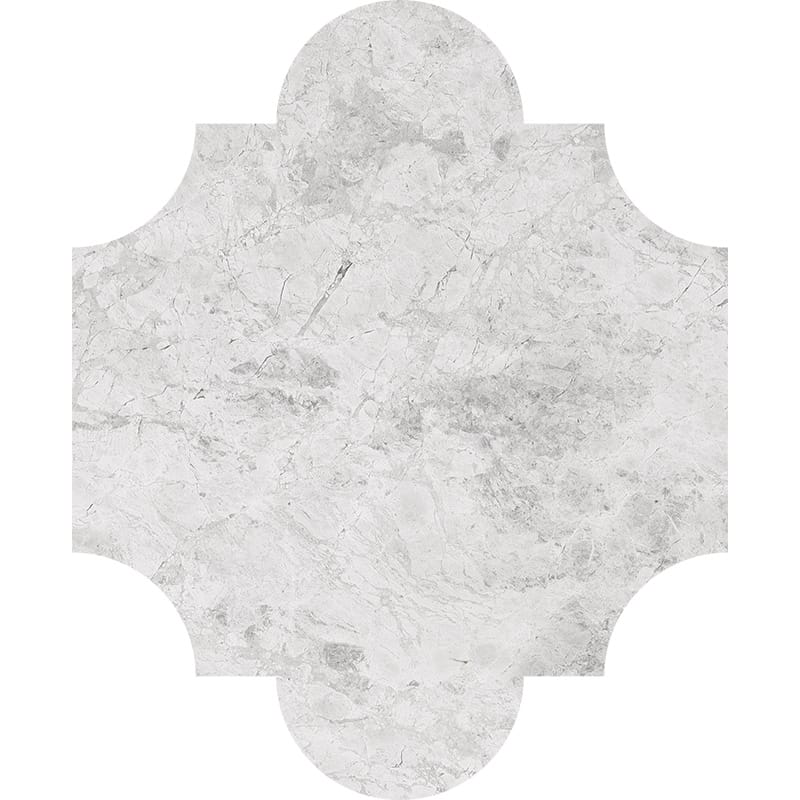 Silver Clouds Polished San Felipe Marble Waterjet Decos 8×9 3/4