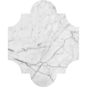 White Carrara C Honed San Felipe Marble Waterjet Decos 8x9 3/4