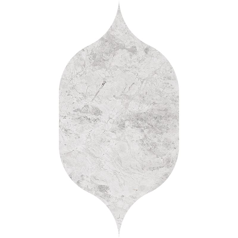 Silver Clouds Polished Gothic Arabesque Marble Waterjet Decos 4 7/8×8 13/16