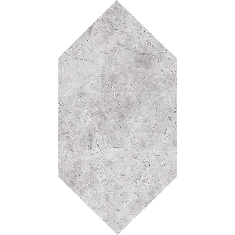 Silver Shadow Honed Large Picket Marble Waterjet Decos 6×12