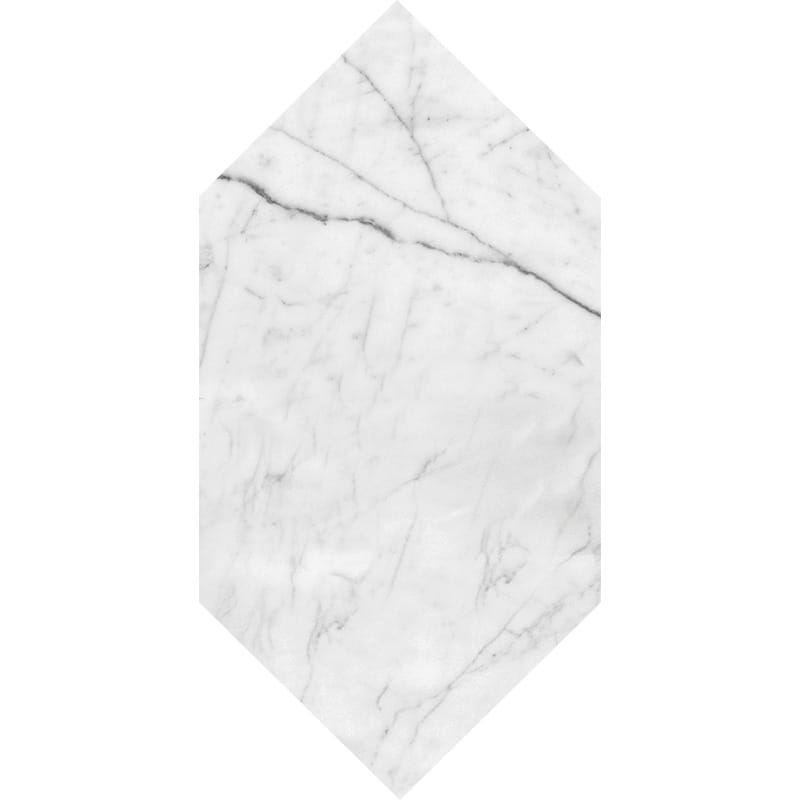 White Carrara C Honed Large Picket Marble Waterjet Decos 6×12