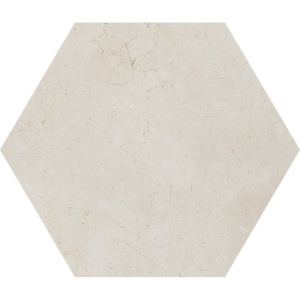 Crema Marfil Polished Hexagon Marble Waterjet Decos 5 25/32x5