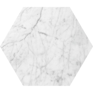 White Carrara C Polished Hexagon Marble Waterjet Decos 5 25/32x5