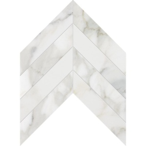 Calacatta Gold Honed Chevron Marble Waterjet Decos 13x10