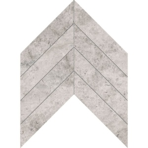 Silver Shadow Honed Chevron Marble Waterjet Decos 13x10