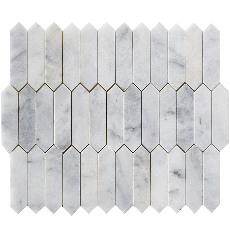 Glacier Honed Baby Picket Marble Mosaics 13 3/16×11
