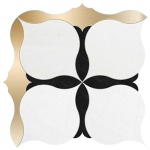 Aspen White, Brass, Black Multi Finish Amelia Marble Waterjet Decos 9 5/8x9 5/8