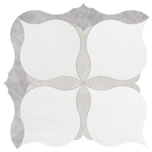 New Silver Shadow, Aspen, Britannia Multi Finish Amelia Marble Waterjet Decos 9 5/8x9 5/8