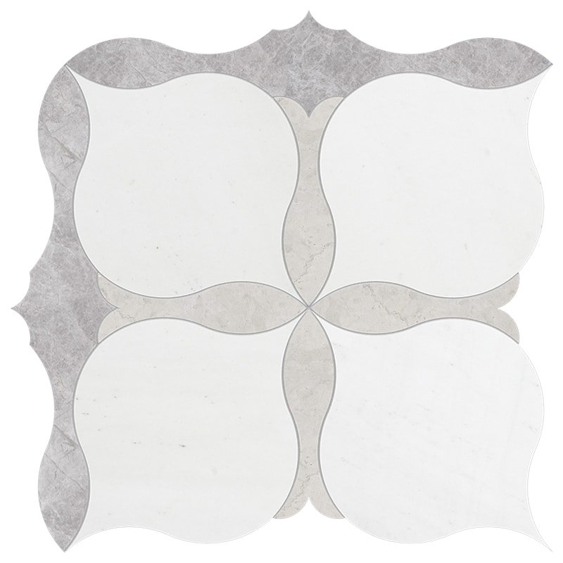 New Silver Shadow, Aspen, Britannia Multi Finish Amelia Marble Waterjet Decos 9 5/8×9 5/8