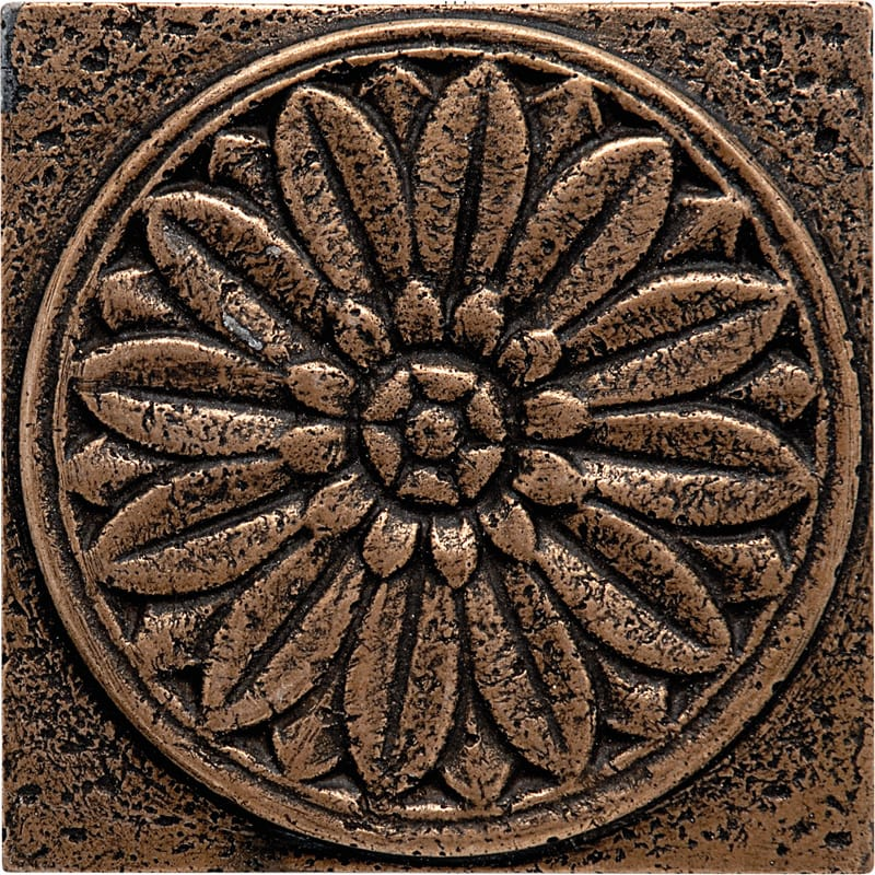 Bronze brushed rosette metal decorative 4x4 marble for Decoration 4x4