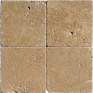 Walnut Dark Tumbled Travertine Tiles 4x4