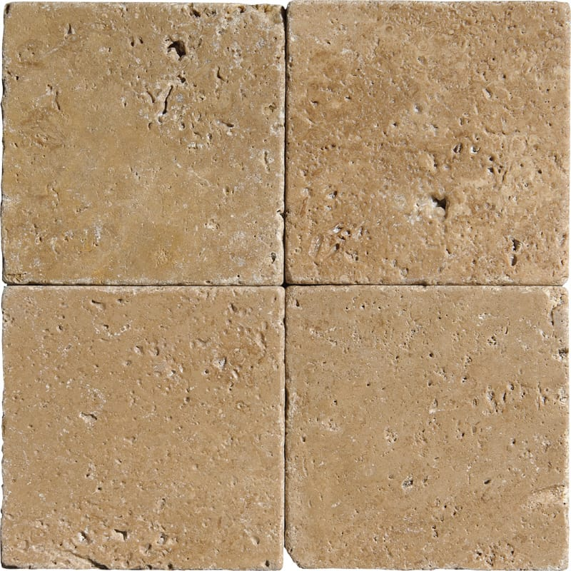 Walnut Dark Tumbled Travertine Tiles 4x4 Marble System Inc