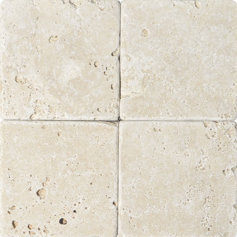 Ivory Tumbled Travertine Tiles 6x6 Marble System Inc