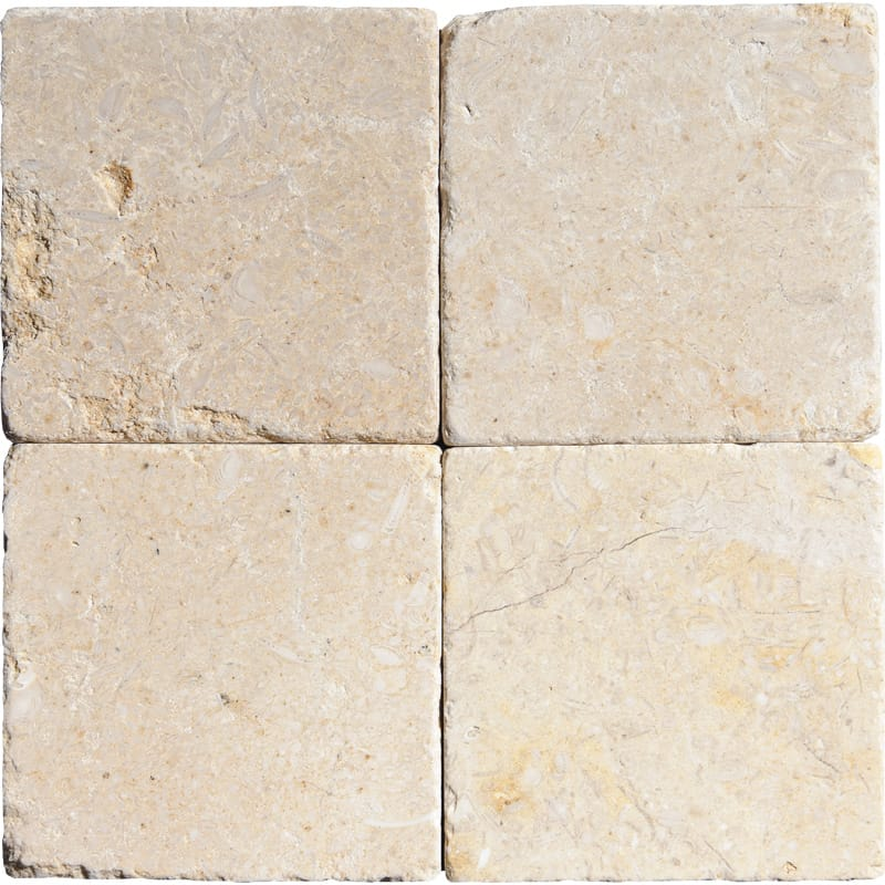 Seashell Tumbled Limestone Tiles 4x4