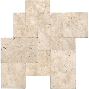 Ivory Tumbled Travertine Pavers Versailles Pattern