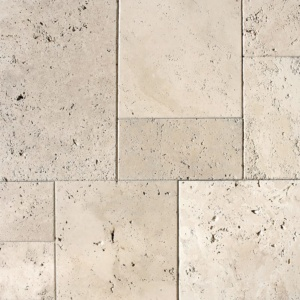 Ivory Antiqued Travertine Pavers Versailles Pattern