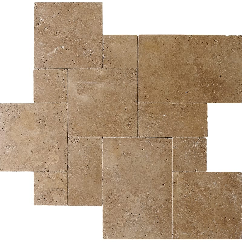 Tumbled Riverbed Walnut Beige 3: Walnut Dark Tumbled Travertine Patterns Versailles Pattern