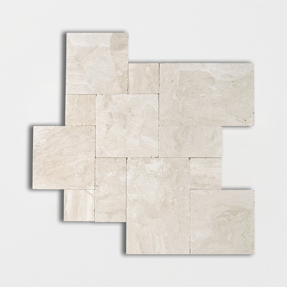 Diana Royal Tumbled Versailles Pattern Marble Pavers