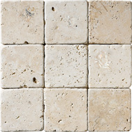 Ivory Classic Tumbled Travertine Tiles 4x4